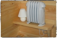 Low Energy Oil filled Heater, Lamp & double plug Socket in Pod 'Beag'.